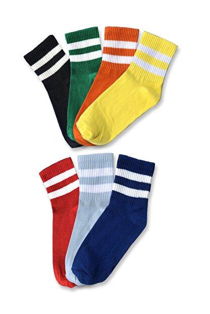 Pofudy Socks Kadın Rengarenk Karışık Tenis Çorabı 7'li