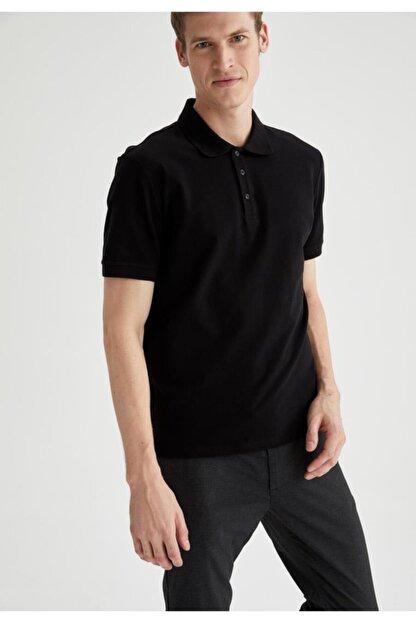 Defacto Regular Fit Polo Yaka Basic Kısa Kollu Siyah Tişört