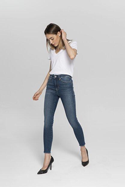 CROSS JEANS Judy Koyu Mavi Yüksek Bel Paçası Kesikli Yanı Dikişli Skinny Fit Jean Pantolon