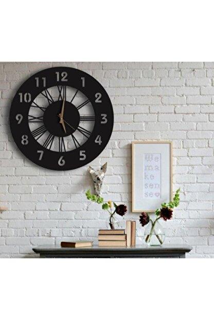 SA Lazer Siyah Hediyelik Ahşap Dekoratif Farklı Desenli Duvar Saati 50cm
