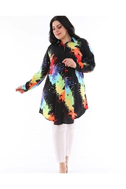 LBB FASHİON Kadın Siyah Tunik Gömlek