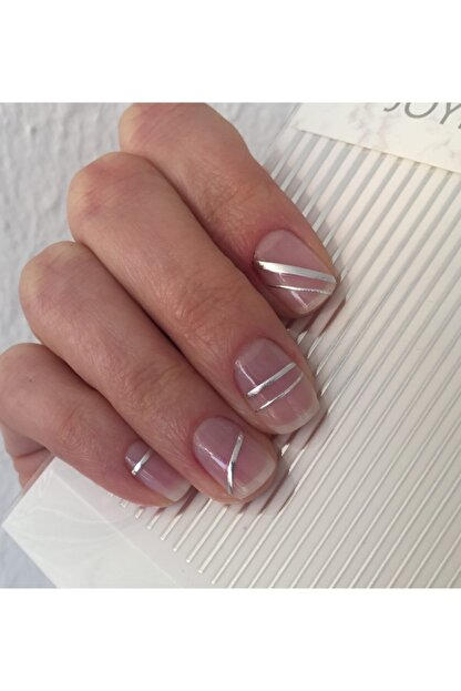 ACCESSORIES WORLD Tırnak Sticker Nail Art Süsleme Gümüş Şerit Etiket