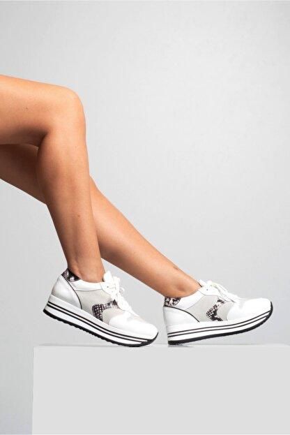 GRADA Kadın Beyaz Hakiki Deri Bağcıklı Sneaker