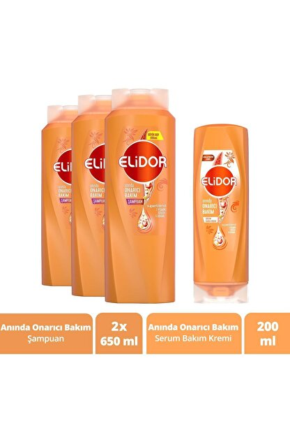 Elidor Saç Bakım Seti Anında Onarıcı Şampuan 650 ml X3 ve Serum Bakım Kremi 200 ml