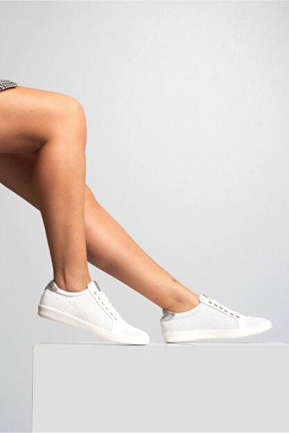 GRADA Kadın Beyaz Mikro Delikli Hakiki Deri Günlük Sneaker Ayakkabı