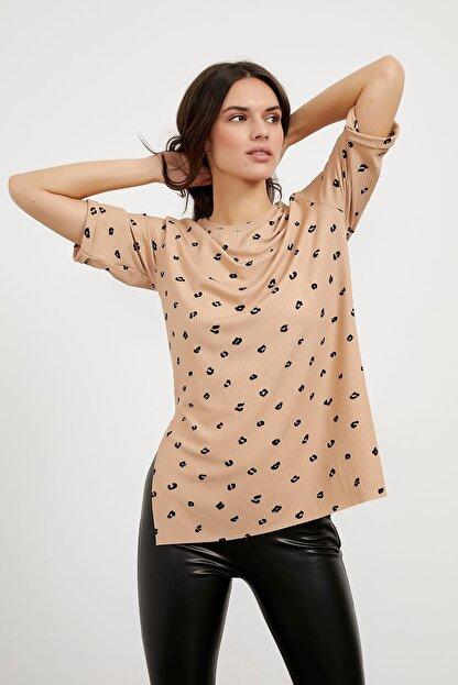 Arma Life Kadın Kahverengi Desenli Kaşkorse T-shirt