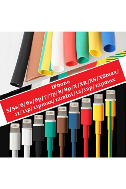 HONDEP Iphone Uyumlu Şarj Kablosu Karışık Renkli Koruyucu Makaron 12 Adet 6 cm