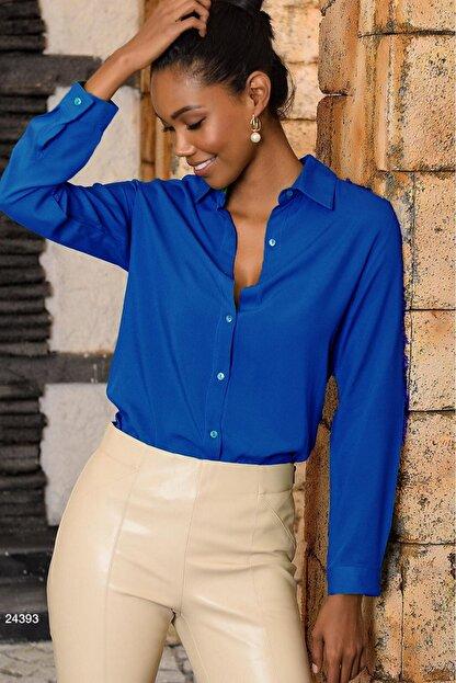 Mossta Kadın Basic Gömlek Saks