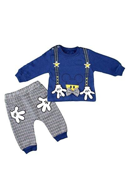 Babyboy Erkek Bebek Eşofman Takımı El Baskılı - Mavi - 12-18 Aylık