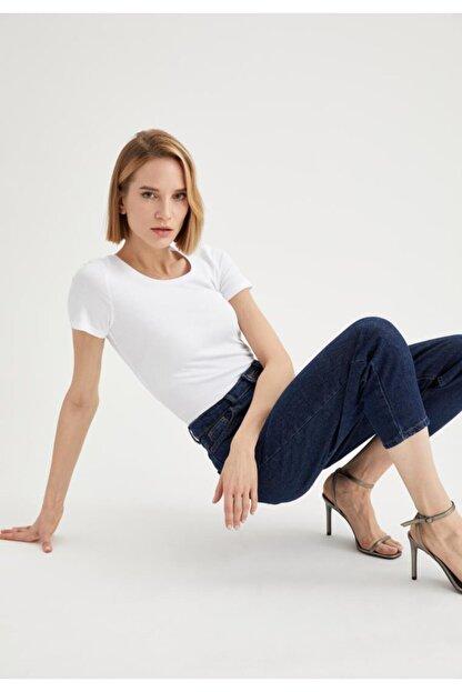 Defacto Kadın Beyaz Basic Kısa Kollu Tişört