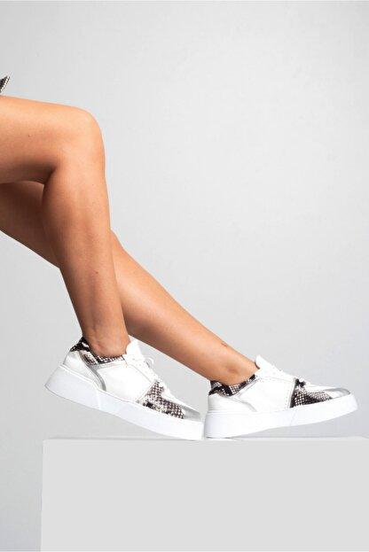 GRADA Kadın Beyaz Hakiki Deri Kalın Taban Sneaker Ayakkabı