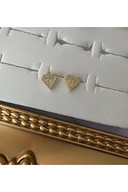 bvjewel 925 Ayar Gümüş Taşlı Çivili Tasarım Küpe