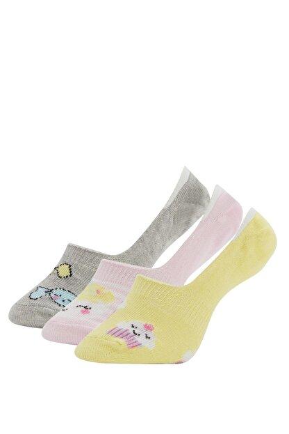 Defacto Kız Çocuk Desenli  Babet Çorap 3'lü