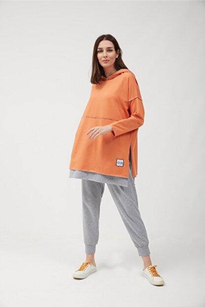 oia Kadın  W-0900 Oranj Pamuklu Tunik Pantolon Takım Eşofman Takım