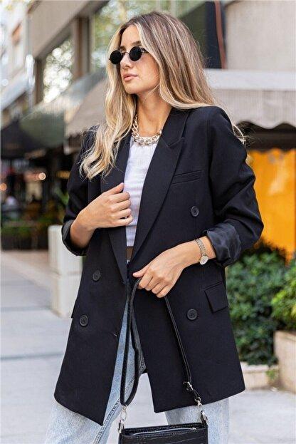 Hilal yılmaz tekstil Kadın Siyah Blazer Ceket