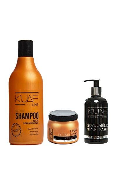 Kuaf Tuzsuz Keratin Şampuan 500ml + Saç Maskesi Keratin 250ml + Soyulabilir Siyah Yüz Maskesi 250ml