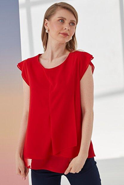 Journey Kadın Kırmızı Kayık Yaka, Ön Parça Detaylı, Volanlı Kısa Kol Bluz
