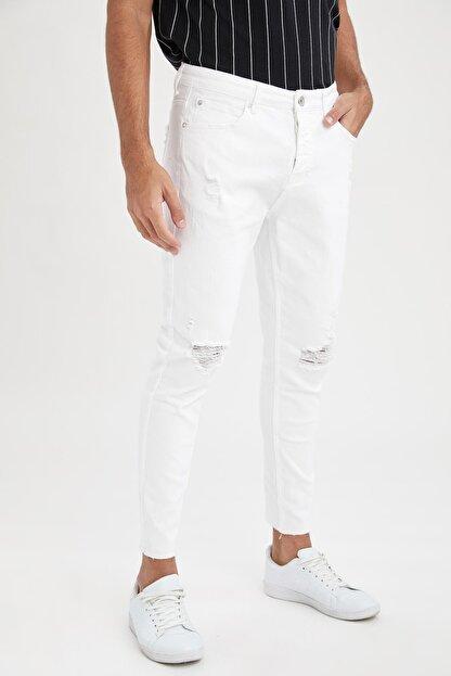 Defacto Carrot Fit Normal Bel Boru Paça Yırtık Detaylı Beyaz Jean Pantolon