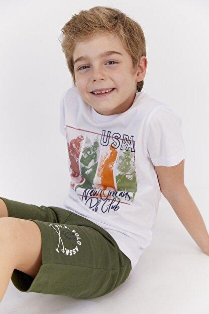 US Polo Assn Erkek Çocuk Krem Lisanslı Bermuda Takım