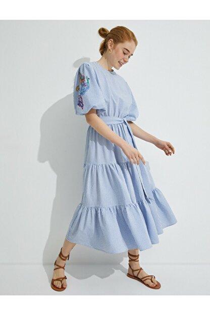 Koton Kadın  El Emegi İslemeli Çizgili Balon Kollu Elbise