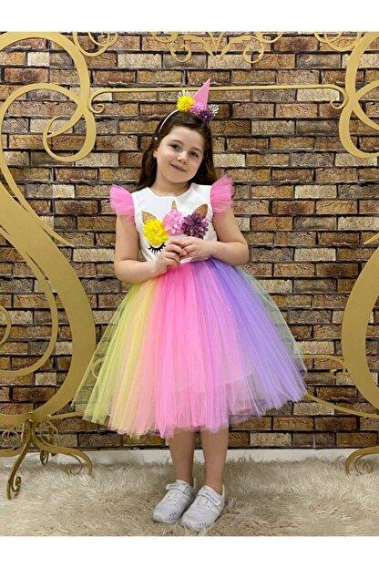 marvelous Kız Çocuk Renkli Doğum Günü Unicorn Elbisesi