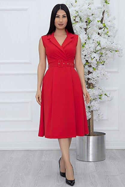PULLIMM Kadın Kırmızı Klasik Yaka Kolsuz Elbise 2508