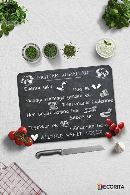 Decorita Mutfak Kuralları - Kara Tahta Görünümlü | Cam Kesme Tahtası - Cam Kesme Tablası | 30cm X 40cm
