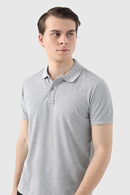D'S Damat Ds Damat Regular Fit Gri Pike Dokulu T-shirt