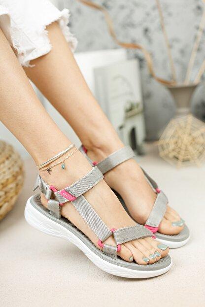 meyra'nın ayakkabıları Gri Cırtlı Sandalet