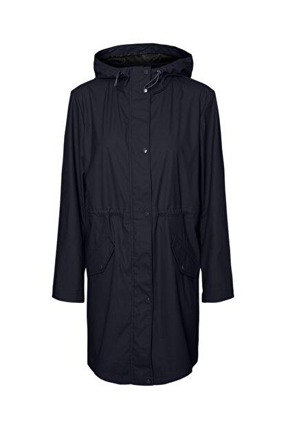 Vero Moda Kadın Siyah Kapüşonlu Büzgülü Yağmurluk