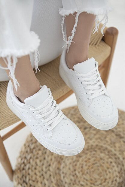 Straswans Kadın Deri Spor Ayakkabı Beyaz