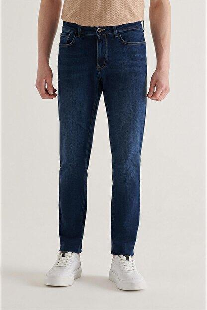 Avva Erkek Lacivert Slim Fit Jean Pantolon A11y3559