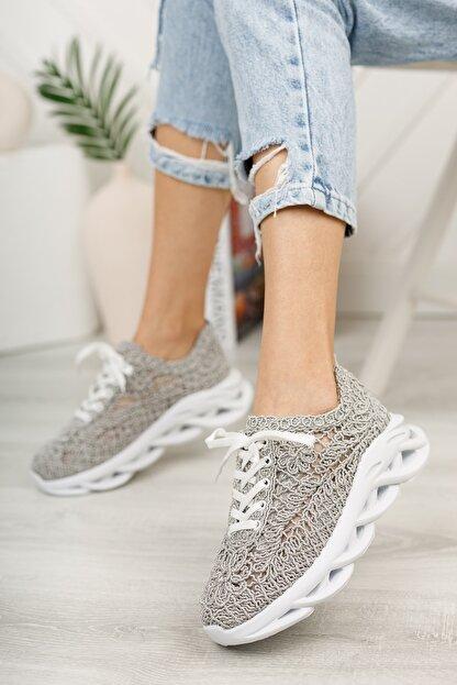 meyra'nın ayakkabıları Kadın  Gri Dantelli Spor Ayakkabı