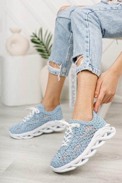 meyra'nın ayakkabıları Kadın  Mavi Dantelli Spor Ayakkabı