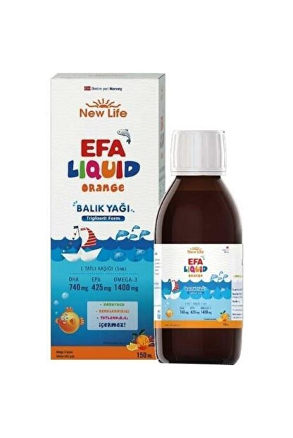 New Life Efa Liquid Orange Balık Yağı 150ml Skt 01.2022