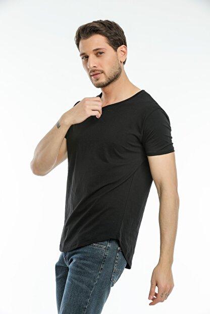 la & vetta Siyah Basic Erkek Bisiklet Yaka Kısa Kollu T-shirt