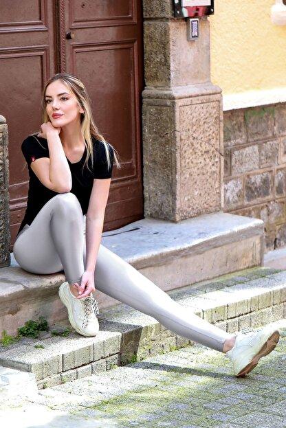 1Moda1Tarz Kadın 4 Yönlü Streç Kumaş Yüksek Bel Ince Kemerli Diz Izi Yapmayan Iç Göstermeyen Özel Üretim Tayt