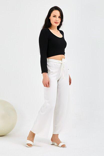 Gentekstil Kadın Beyaz Bel Lastikli Rahat Kesim Pantolon