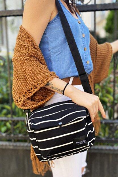 Modavega Kadın Siyah Beyaz Çizgili Çapraz Çanta