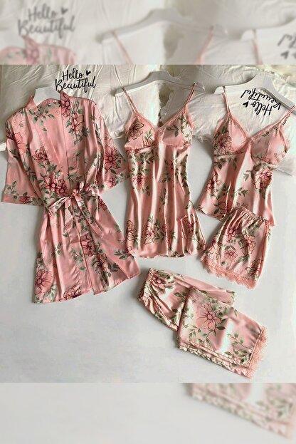 Pembishomewear Özel Tasarım 6 Lı Somon Çiçekli Saten Pijama Seti