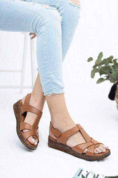 Deripabuc Hakiki Deri Taba Kadın Deri Sandalet Crz-0551