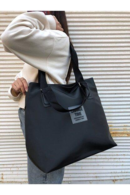 Lebina Kadın Siyah Shopper Omuz Çantası