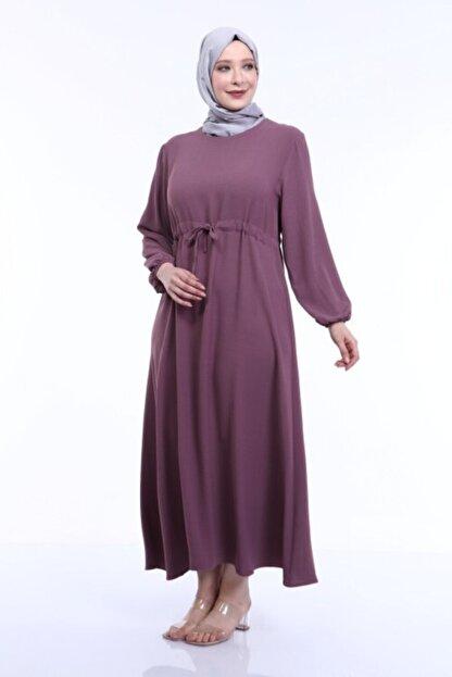 MODA MAHPERİ Keten Aerobin Büyük Beden Tesettür Elbise Beli Ayarlamalı Keten Ayrobin Elbise