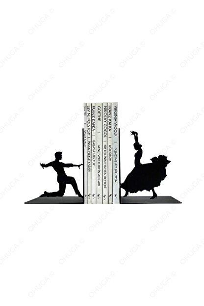 ohuga Metal Kitap Tutucu Dans Eden Çift Flamneko Figürlü Kitap Desteği, Dekoratif Kitaplık