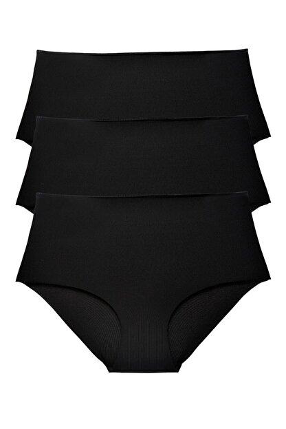 Sensu Kadın Siyah Yüksek Bel Lazer Kesim Külot 3 Lü Paket Set