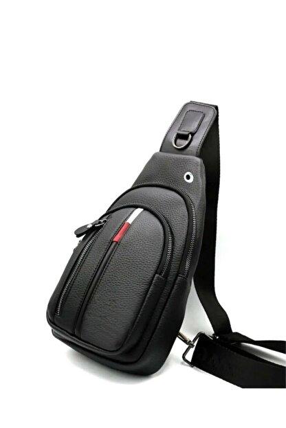 Av A Dos Unisex Siyah Deri Kulaklık Çıkışlı Çapraz Askılı Bel Omuz Çanta