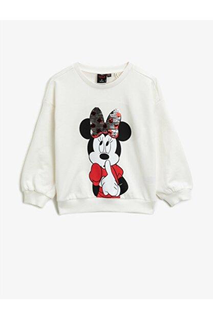 Koton Kız Çocuk Ekru Pamuklu Minnie Mouse Sweatshirt