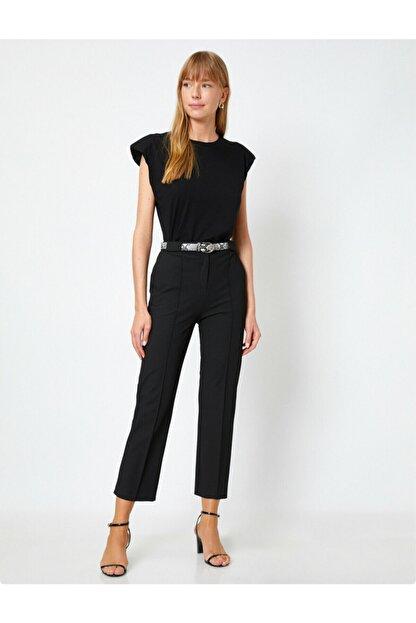 Koton Kadın Siyah Kemer Detaylı Pantolon
