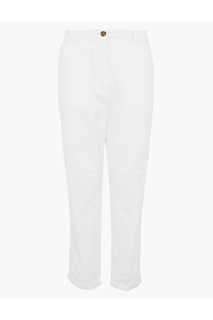 Marks & Spencer Kadın Beyaz Saf Pamuklu Tapered Fit Pantolon T57006533
