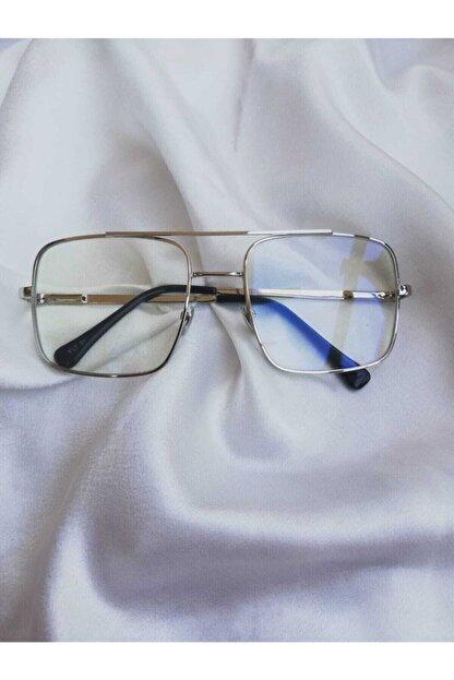 ONNObutik Gümüş Çerçeve Şeffaf Lens Unısex Güneş Gözlüğü